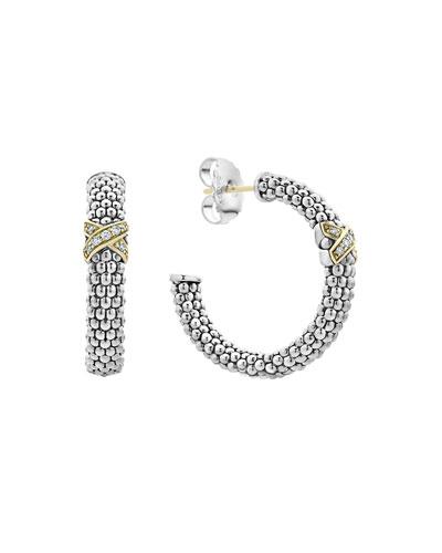 Caviar Lux Diamond-X Hoop Earrings w/ 18k Gold