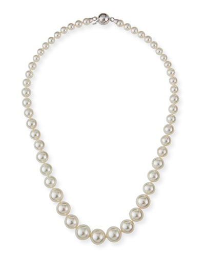 Graduated Short Pearl Necklace  White  18L