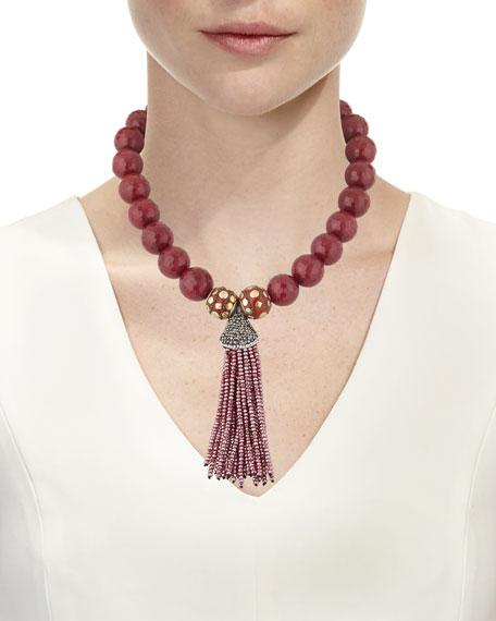 Devon Leigh Jade Bead Necklace w/ Crystal Tassel