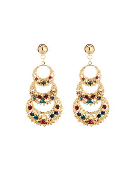 Oscar de la Renta Mixed-Crystal 3-Crescent Drop Earrings