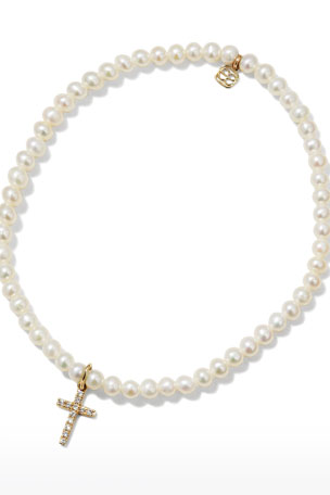 Sydney Evan 14k Diamond Cross & Pearl Bracelet