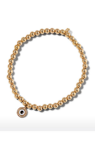 Sydney Evan 14k Gold 4mm Bead & Diamond Evil Eye Bracelet