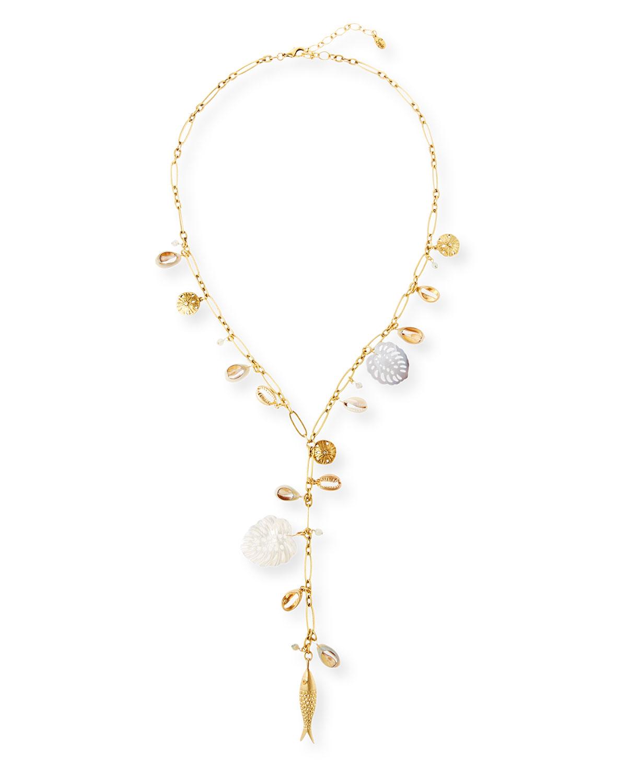 Sequin Mother of Pearl Y Drop Necklace   Neiman Marcus