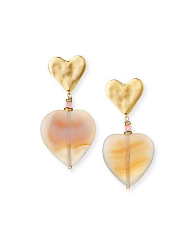 Agate Heart-Drop Earrings