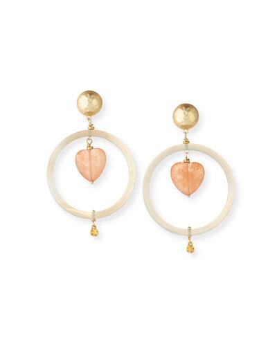Agate Heart & Hoop Drop Earrings