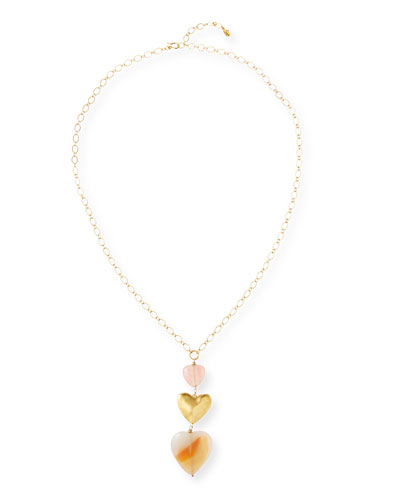 Agate 3-Heart Necklace