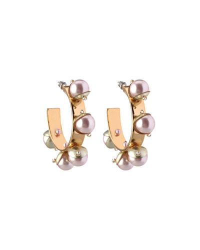 Mini Delfina Pearly Hoop Earrings