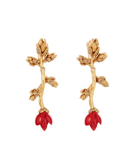 Oscar de la Renta Resin & Crystal Flower Bud Clip Earrings