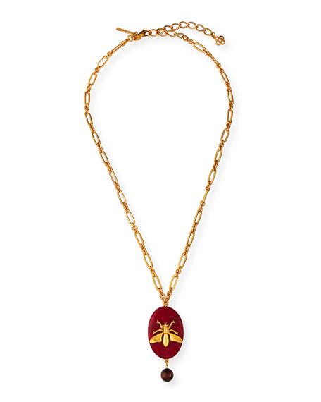 Oscar De La Renta Oval Fly-Stone Pendant Necklace In Red/Gold