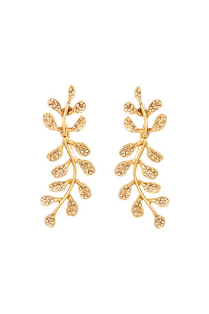Oscar de la Renta Crystal Pave Leaf Earrings