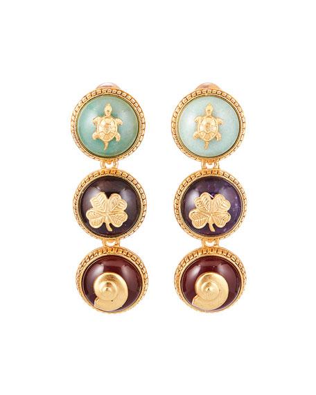 Oscar de la Renta Triple Disk Clip-On Earrings
