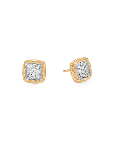 John Hardy Classic Chain 18k Diamond Pave Stud Earrings