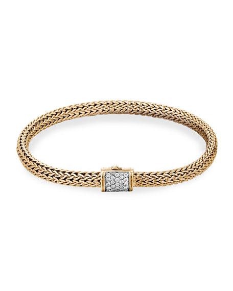 John Hardy Classic Chain 18k Diamond Pave Station Bracelet, S-M