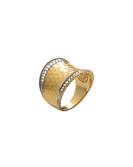 John Hardy Classic Chain 18k Hammered Saddle Ring w/ Diamonds, Size 7