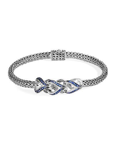 Classic Chain Blue Sapphire Link Bracelet, Size S-L