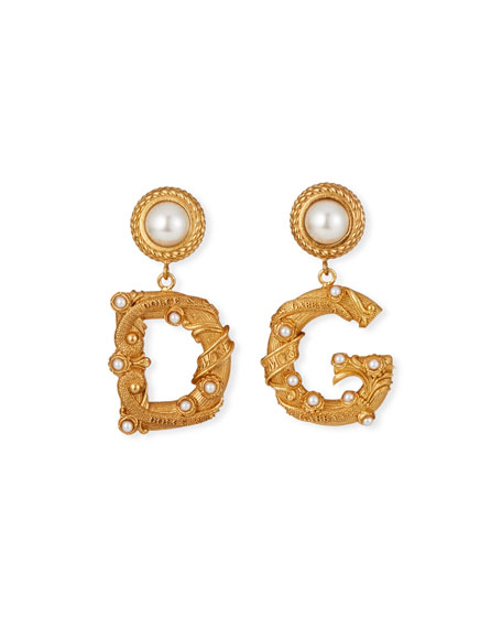 Dolce & Gabbana Pearl-Post DG Earrings