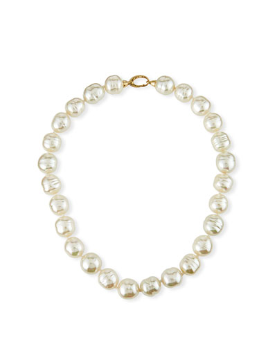 14mm Baroque Pearl-Strand Necklace with Bean Clasp