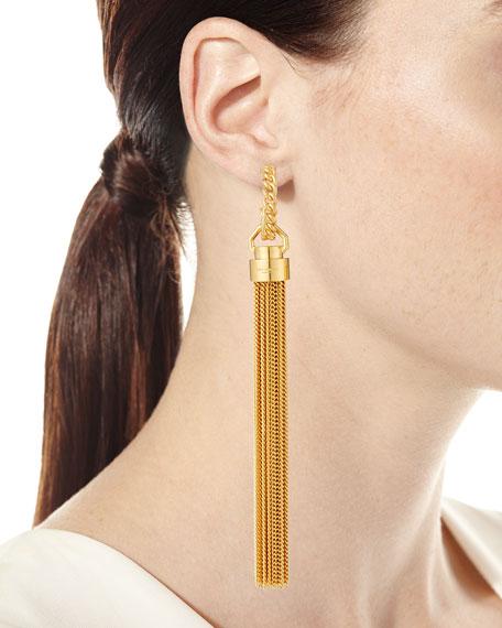 Saint Laurent Long Chain Tassel Earrings