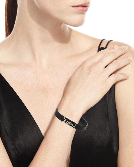 Saint Laurent Leather YSL Monogram Bracelet, Black/Silver