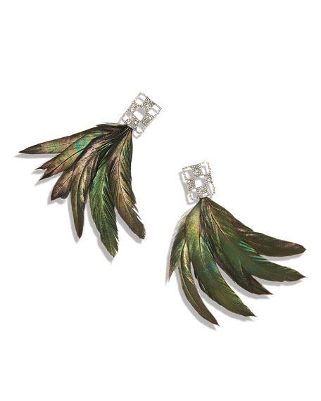 Alexis Bittar Pave Checkerboard Feather Earrings