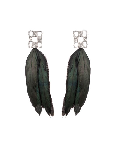 Pave Checkerboard Feather Earrings