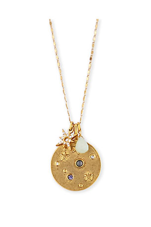 "Sequin Celestial Talisman Necklace, 32""L"