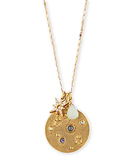 """Sequin Celestial Talisman Necklace, 32""""L"""