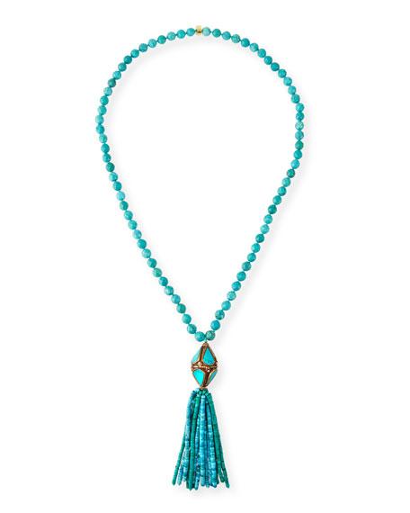 "NEST Jewelry Turquoise Tibetan Bead Tassel Pendant Necklace, 33""L"
