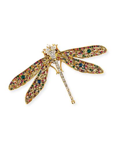 Crystal Dragonfly Pin