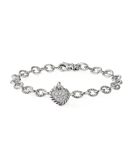 David Yurman Cable Cookie Classic Heart Bracelet w/ Diamonds, Size M