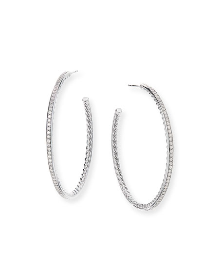Image 1 of 2: David Yurman Large Hoop Earrings w/ Pave Diamonds