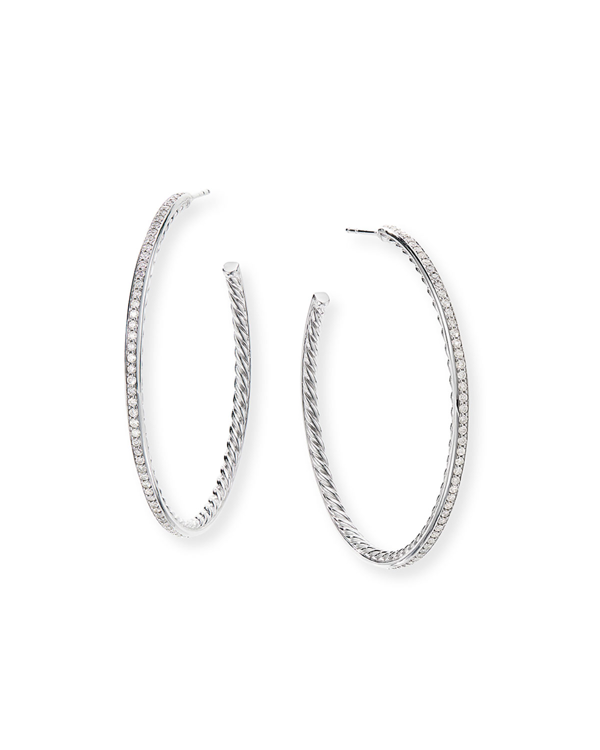 David Yurman Large Hoop Earrings w/ Pave Diamonds