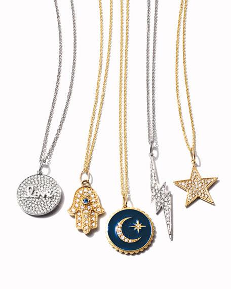 Sydney Evan 14k White Gold Love Script Diamond Pave Medallion Necklace