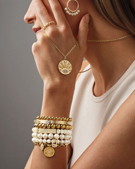 Sydney Evan 14k Gold Bead Bracelet w/ Diamond Arrow