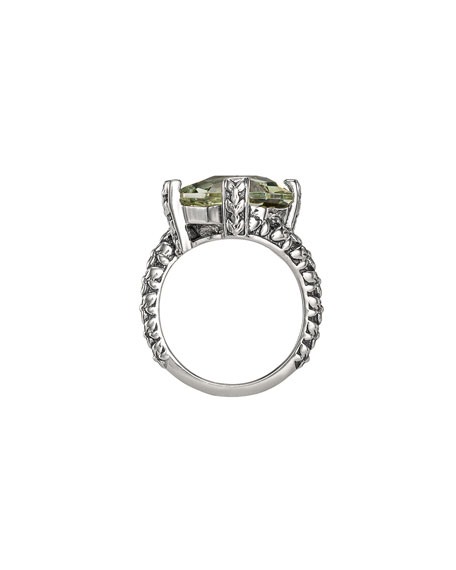 Stephen Dweck Freeform Faceted Green Amethyst Ring, Size 7 & 8