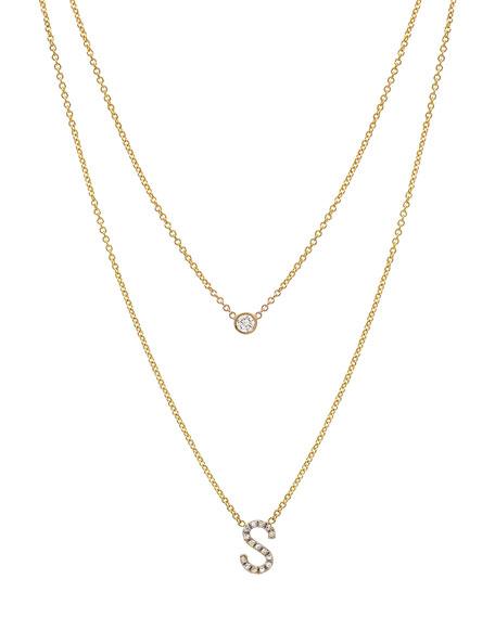 Zoe Lev Jewelry Personalized 14k Gold Diamond Initial & Bezel 2-Layer Necklace