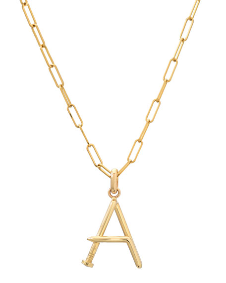 Zoe Lev Jewelry Personalized 14k Large Initial Pendant Necklace