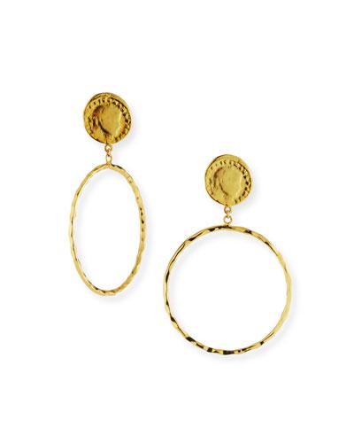 Coin-Post Hoop-Drop Earrings
