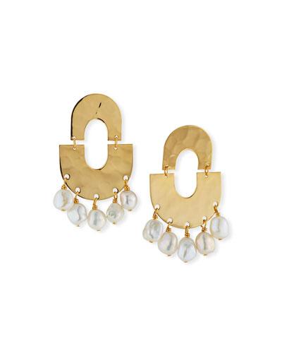 Hammered Pearl Shaker Earrings