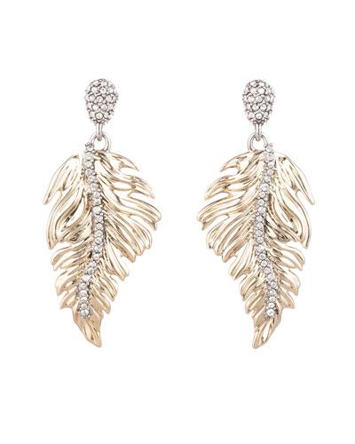 Feather Drop Post Earrings