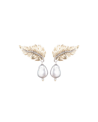 Feather Pearl-Drop Post Earrings