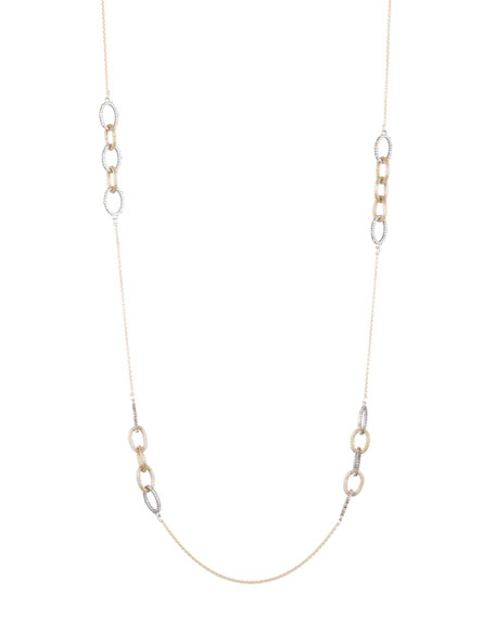 Alexis Bittar Crystal Encrusted Mesh Chain Link Station Necklace