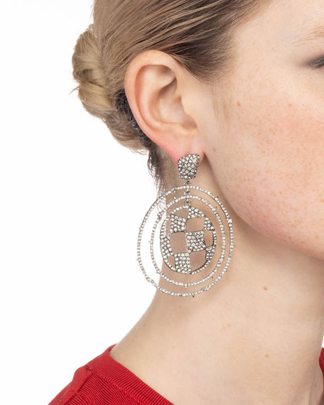 Alexis Bittar Pave Checkerboard Orbiting Earrings