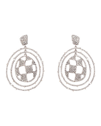 Pave Checkerboard Orbiting Earrings
