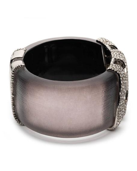 Alexis Bittar Pave Checkerboard Hinge Bracelet, Rose Gray