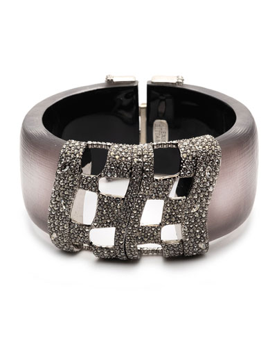 Pave Checkerboard Hinge Bracelet  Rose Gray