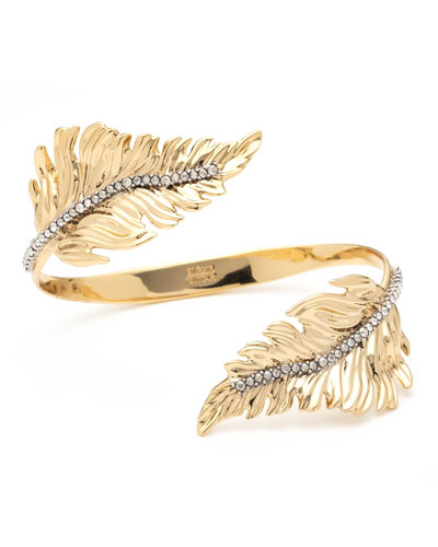 Double Feather Bypass Cuff Bracelet