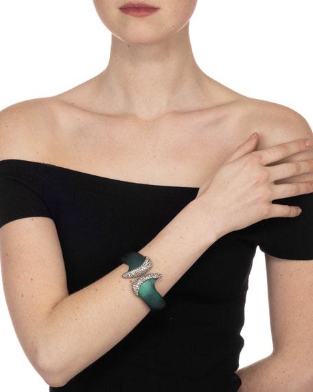 Alexis Bittar Organic Pave Hinge Bracelet, Forest