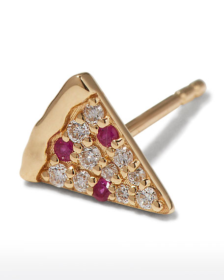 Sydney Evan 14k Diamond & Ruby Pizza Slice Earring, Single