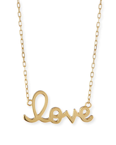 14K Yellow Gold Pure Love Script Necklace